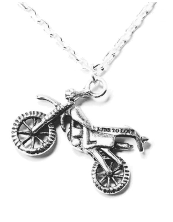 enduro motorlu gümüş kolye