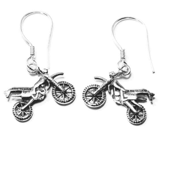 enduro motosiklet gümüş küpe