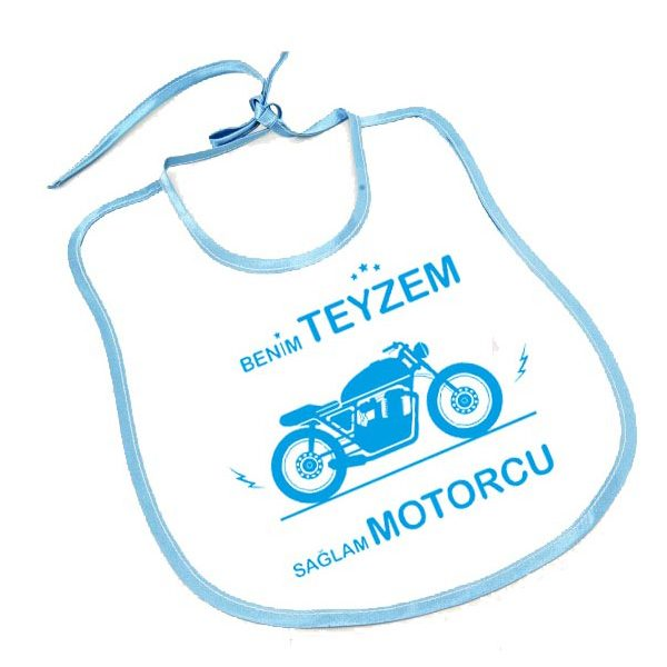 benim teyzem sağlam motorcu mavi bebek önlük