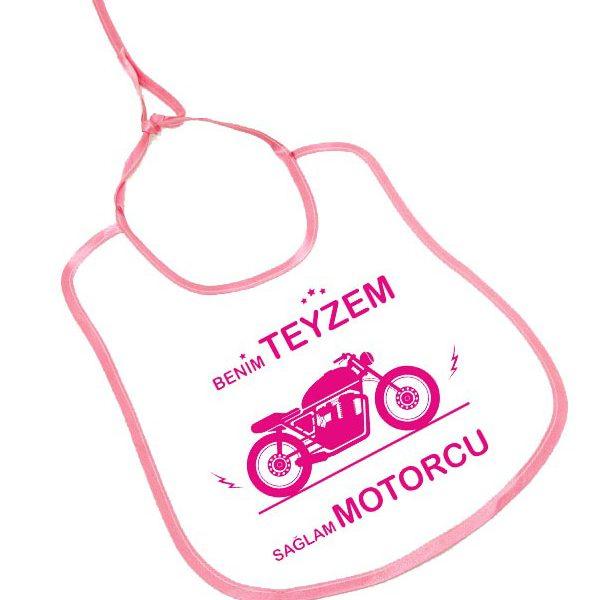 benim teyzem sağlam motorcu motosikletli bebek önlüğü pembe