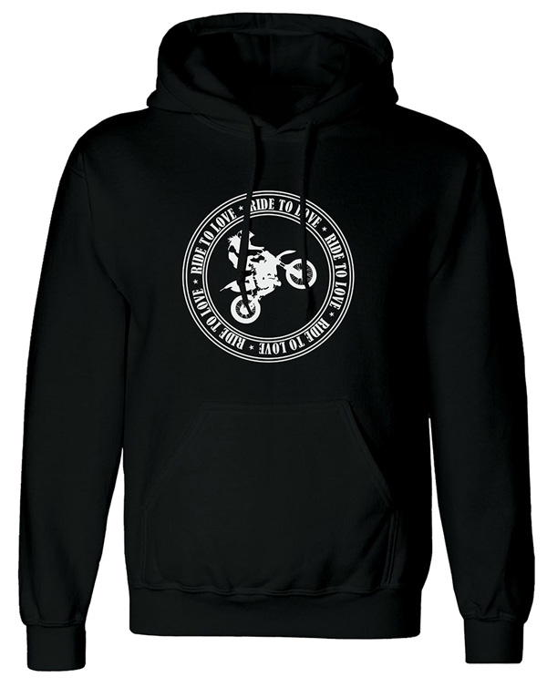ride to love logo baskılı siyah kapşonlu sweatshirt