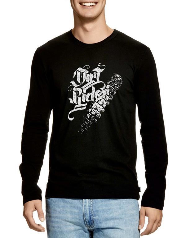 dirt rider erkek uzun kollu lastik izli motocross t-shirt