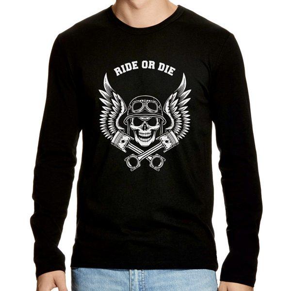 ride or die motorlu kurukafalı siyah erkek uzun kollu t-shirt