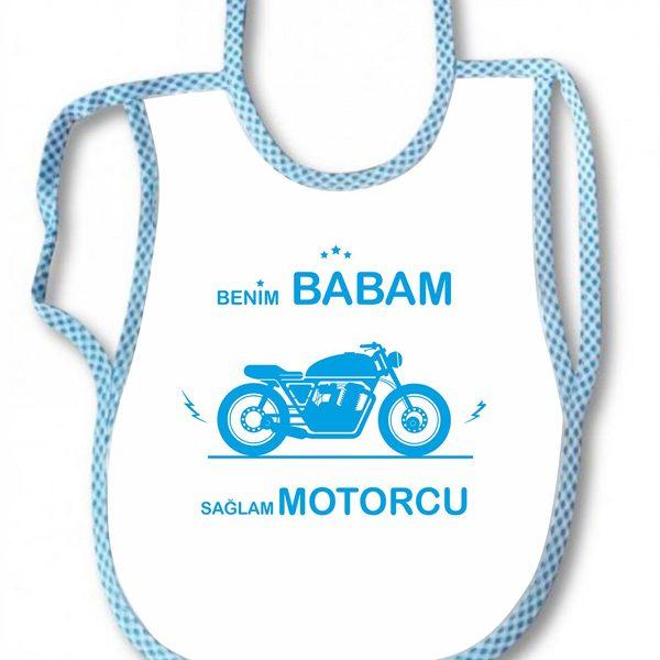 benim babam sağlam motorcu bebek önlüğü motorcu